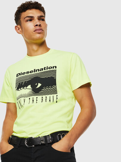 Diesel - T-DIEGO-J4, Yellow Fluo - T-Shirts - Image 7