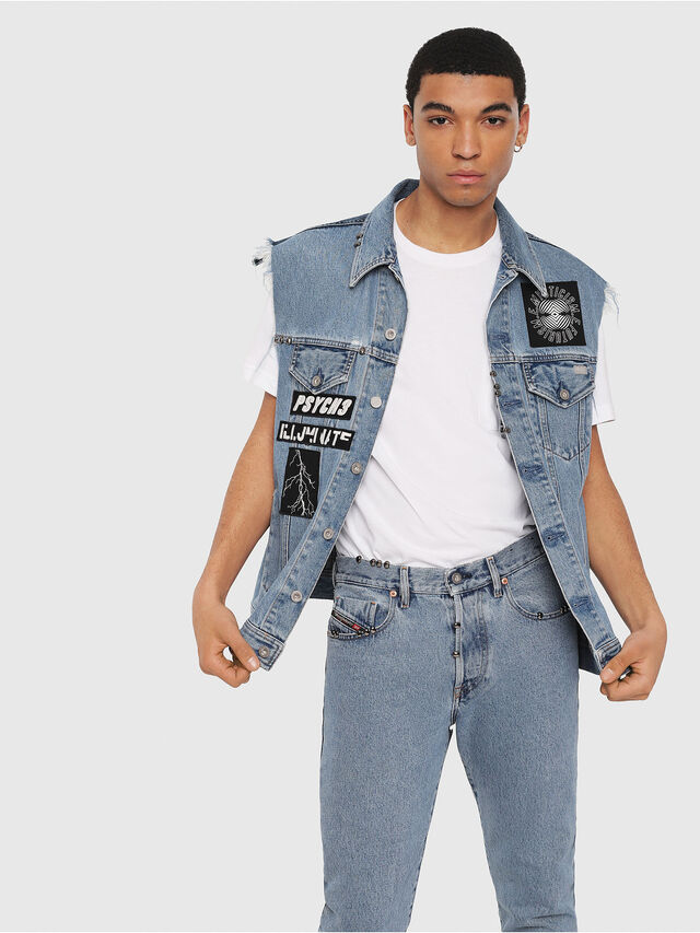 Diesel - D-VINNY-M, Medium blue - Denim Jackets - Image 1