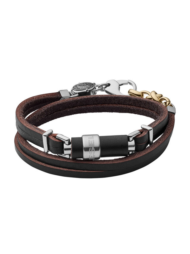 Diesel - BRACELET DX1082, Black Leather - Bracelets - Image 1