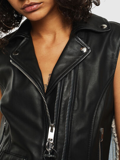Diesel - L-WELLS, Black Leather - Leather jackets - Image 5