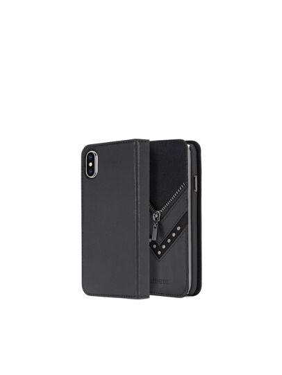 Diesel - BLACK DENIM/STUD/ZIPPER IPHONE X FOLIO,  - Flip covers - Image 1