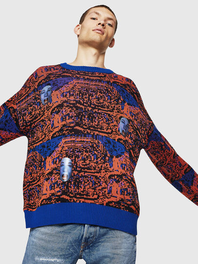Diesel - K-FACE, Red/Blue - Knitwear - Image 5