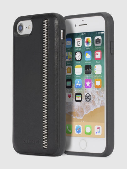 Diesel - ZIP BLACK LEATHER IPHONE 8 PLUS/7 PLUS/6s PLUS/6 PLUS CASE,  - Cases - Image 1