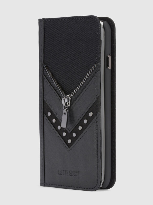 Diesel - BLACK DENIM/STUD/ZIPPER IPHONE 8/7 FOLIO, Black - Flip covers - Image 1