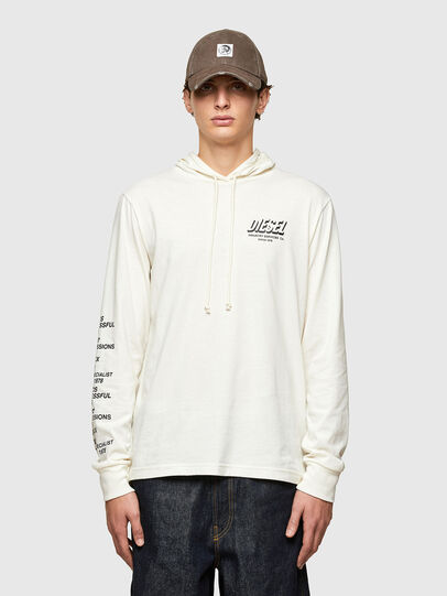 Diesel - T-JUST-LS-HOOD-SLITS, White - T-Shirts - Image 1