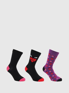 SKM-HERMINE-THREEPAC, Black/Violet - Socks