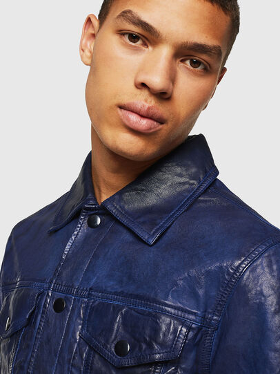 Diesel - L-NHILL, Blue - Leather jackets - Image 3