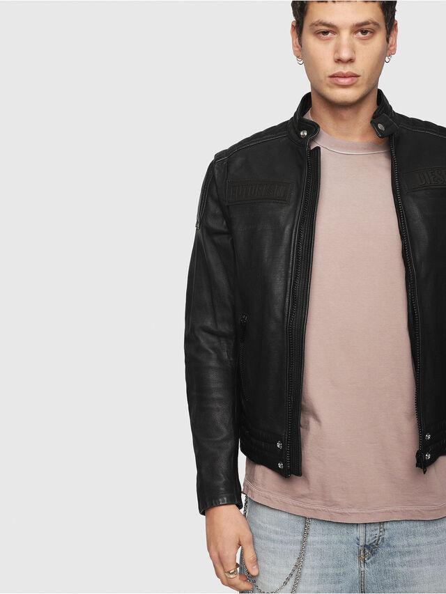 Diesel - L-YUJA, Black Leather - Leather jackets - Image 4