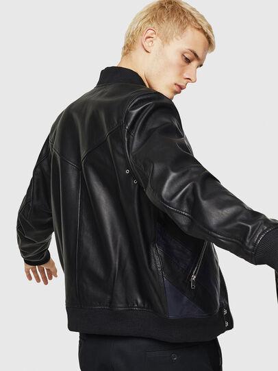 Diesel - L-OLEG, Black/Blue - Leather jackets - Image 5