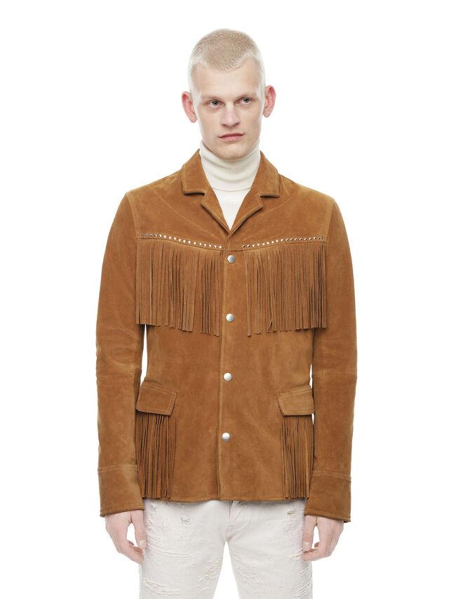 Diesel - LEOS, Brown/Beige - Leather jackets - Image 1