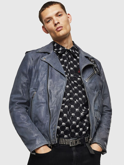 Diesel - L-KIOV, Blue - Leather jackets - Image 4