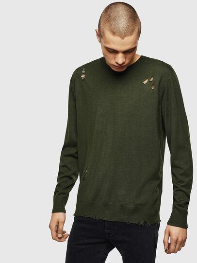Diesel - K-PLUG, Dark Green - Knitwear - Image 1