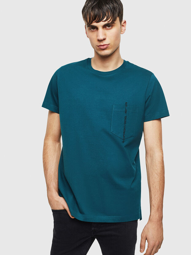 T-RUBIN-POCKET-J1, Dark Green - T-Shirts