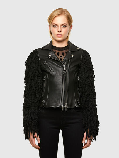 Diesel - L-ELIZABETH, Black - Leather jackets - Image 1
