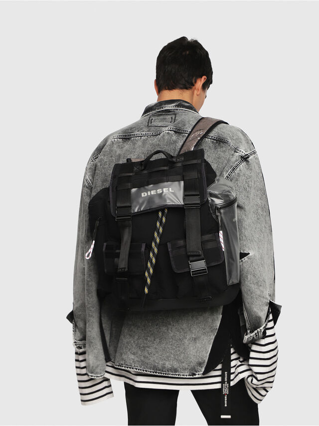 Diesel - M-CAGE BACK, Black/Silver - Backpacks - Image 5