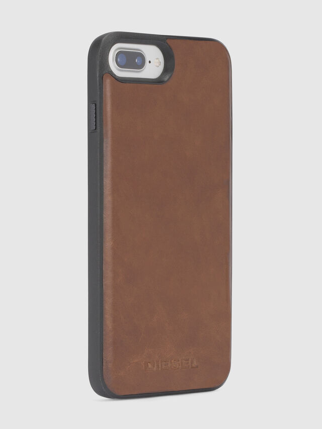 Diesel - BROWN LEATHER IPHONE 8 PLUS/7 PLUS/6s PLUS/6 PLUS CASE, Brown - Cases - Image 4
