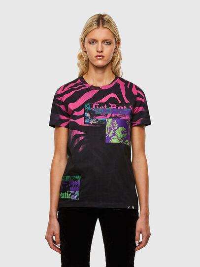 Diesel - T-SILY-R3, Black/Pink - T-Shirts - Image 1