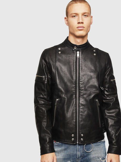 Diesel - L-TOVMAS, Black - Leather jackets - Image 1