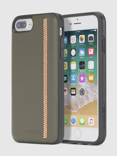 Diesel - ZIP OLIVE LEATHER IPHONE 8/7/6s/6 CASE,  - Cases - Image 1