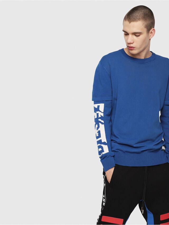 Diesel - K-BETTE, Blue/White - Knitwear - Image 1