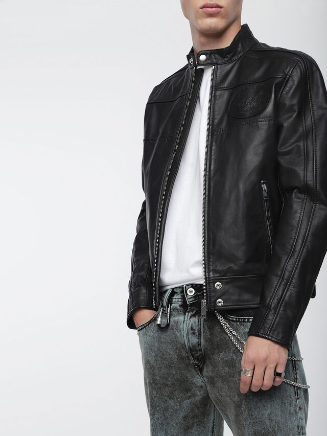 Diesel - L-STREET, Black Leather - Leather jackets - Image 1