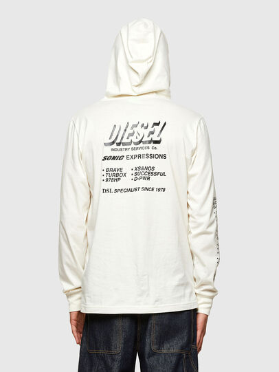 Diesel - T-JUST-LS-HOOD-SLITS, White - T-Shirts - Image 2