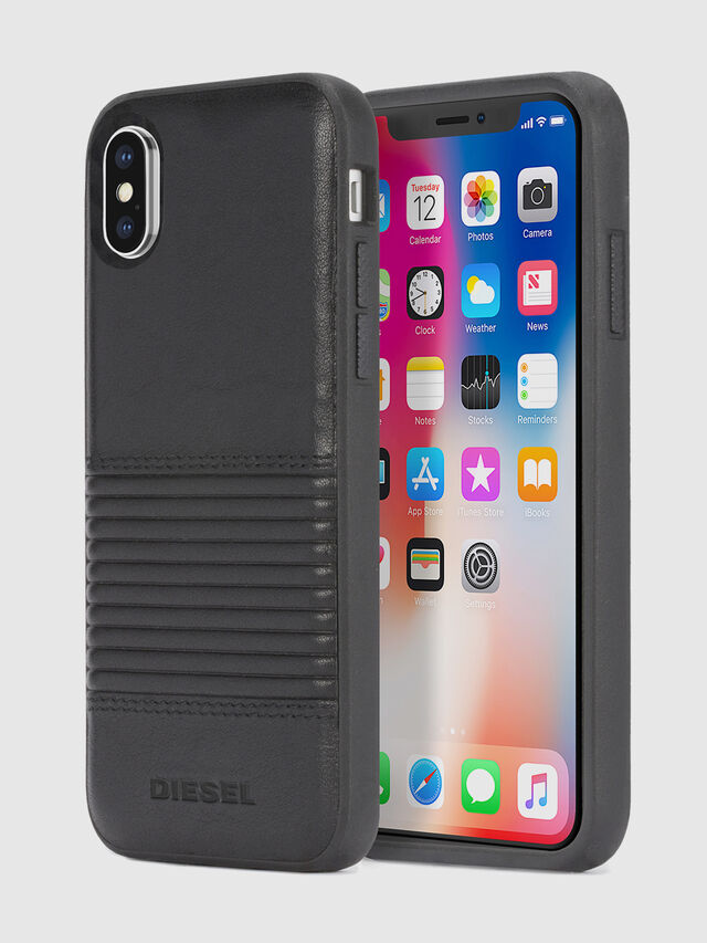 BLACK LINED LEATHER IPHONE X CASE, Black