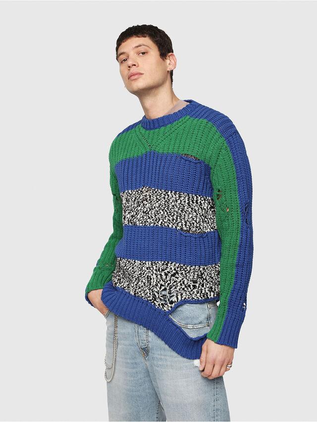 Diesel - K-DANIEL, Blue/Green - Knitwear - Image 1