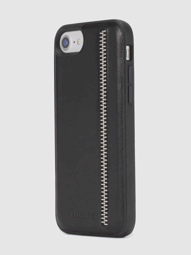 Diesel - ZIP BLACK LEATHER IPHONE 8 PLUS/7 PLUS/6s PLUS/6 PLUS CASE, Black - Cases - Image 6