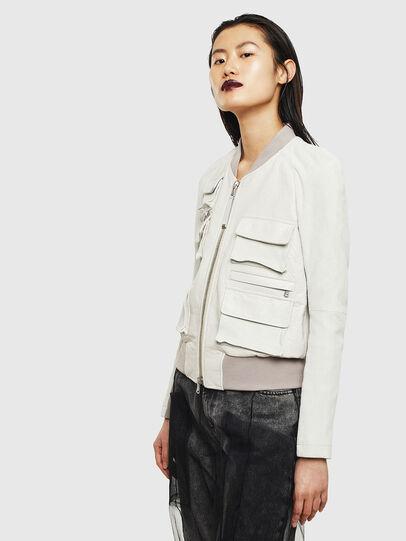 Diesel - L-CERITE, White - Leather jackets - Image 4