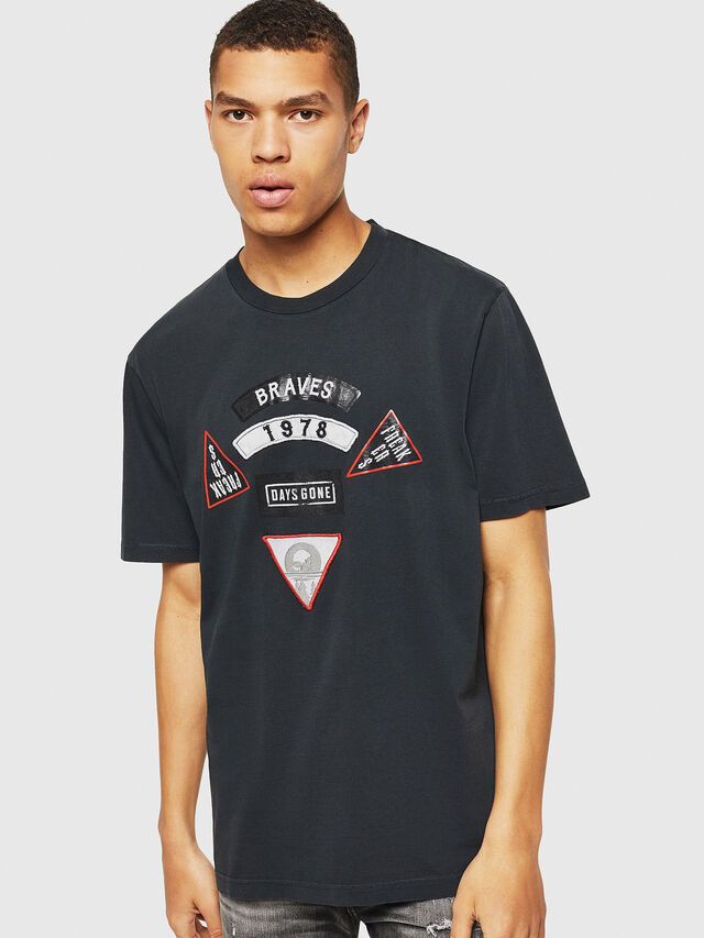 Diesel - PS-T-JUST-RIBS, Black - T-Shirts - Image 1