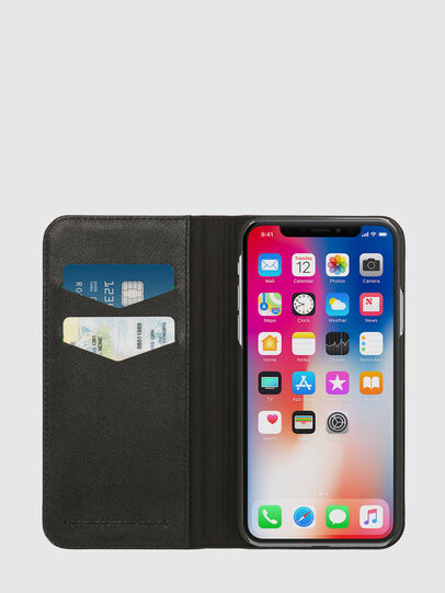 Diesel - SLIM LEATHER FOLIO IPHONE X, Black - Flip covers - Image 6
