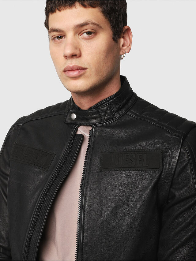 Diesel - L-YUJA, Black Leather - Leather jackets - Image 5