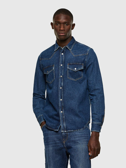 Diesel - D-EAST-P1, Blue - Denim Shirts - Image 1
