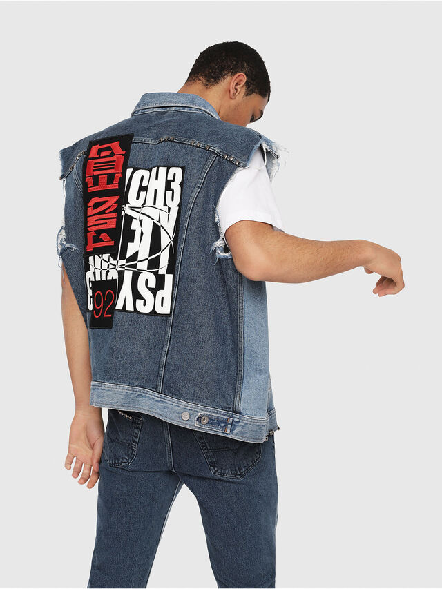 Diesel - D-VINNY-M, Medium blue - Denim Jackets - Image 3